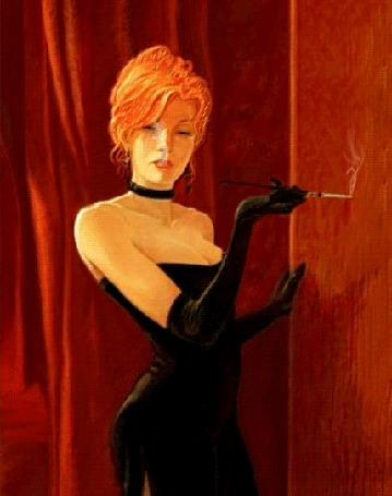 Фото Рыжеволосая девушка в черном вечернем платье и длинных перчатках курит сигарету через мундштук (© царица Томара), добавлено: 18.11.2014 15:51