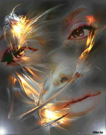 Фото На фоне желтых абстрактных цветов и мигающих белых огней видно лицо моргающей глазами девушки, Akela