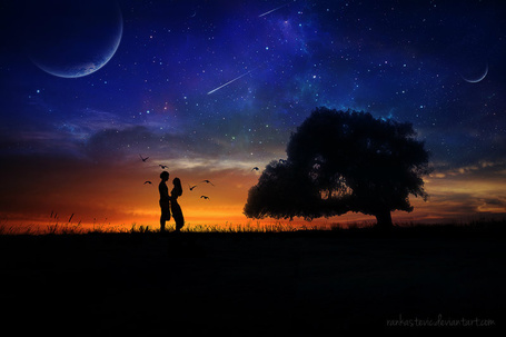 Фото Влюбленная пара на фоне ночного неба, by RankaStevic