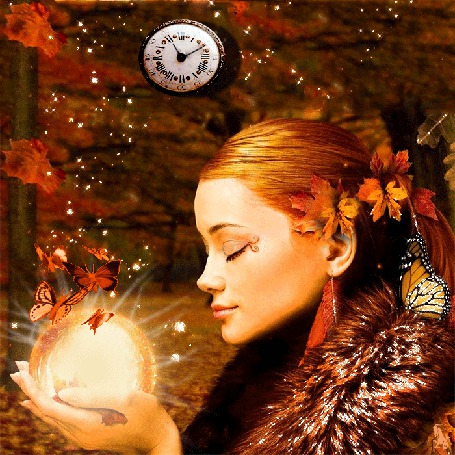 Фото Девушка со светящимся шаром и бабочками над ним