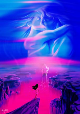 Фото Покахонтас стоит на краю обрыва, встречая парусник, на небе изображен образ влюбленных, by Chris-Darril