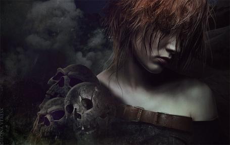 Фото Девушка с опущенной головой рядом с черепами, арт by ilona vere