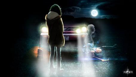 Фото Девушка стоит на дороге перед авто, где она видит двух мужчины, работа The spirit carries on / дух ведет, by Altair-E