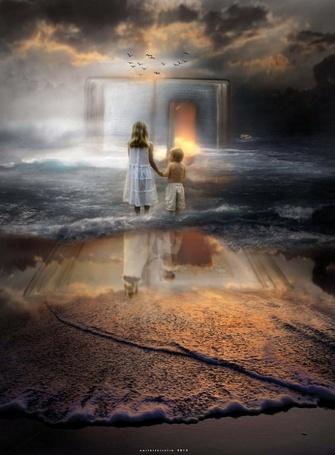 Фото Девочка и мальчик, держась за руки, стоят на берегу моря, омываемом волнами и смотрят на стаю птиц и, в призрачном свете раскрытую книгу, в которой открыта светящаяся дверь в другой мир, by oneoftheclan
