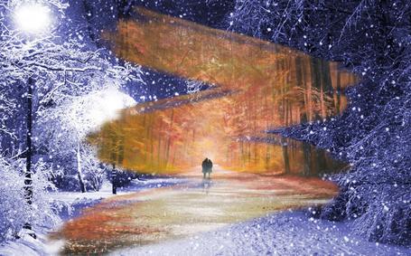 Фото Из осени в зиму идут вместе девушка и парень
