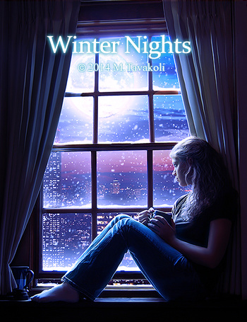 Фото Девушка сидит на подоконнике окна, за которым идет снег, Winter Nights (зимняя ночь), by MasoumehTavakoli-Art