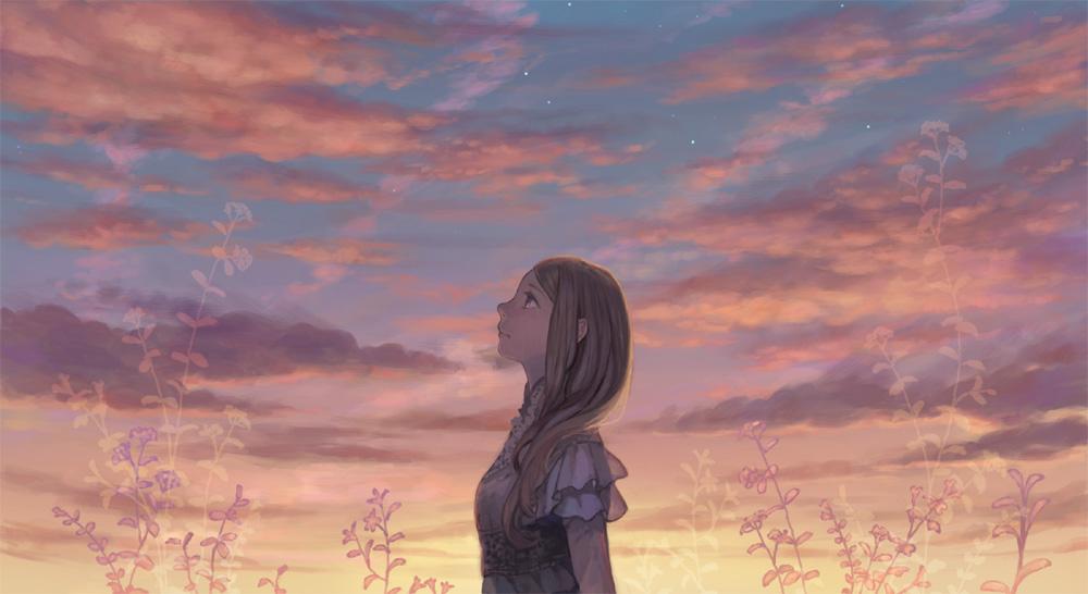 Картинка девочка смотрит на небо