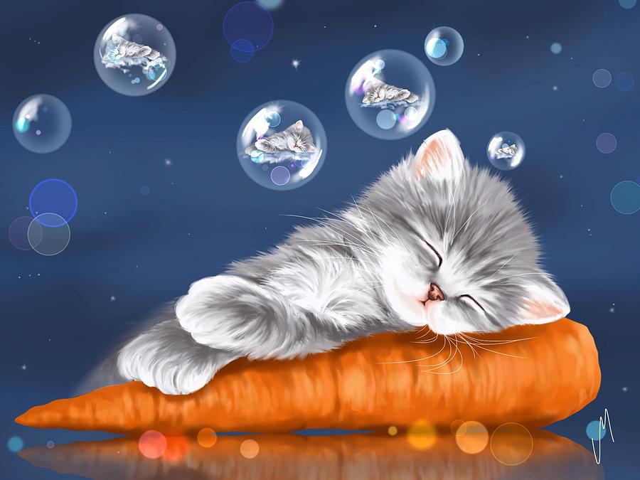 Открытки доброй ночи котеночек, подруге
