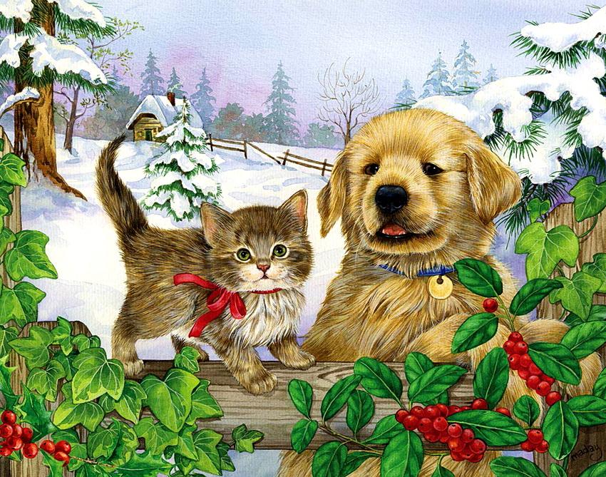 Поздравление юбилеем, открытки щенки и котята