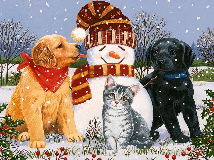 Картинки с котами и собаками зимой рисованные вертикальные, картинки