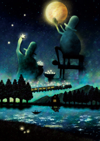 Фото Девушка и мужчина в лодке на фоне ночного неба, в котором двое мужчин помещают на небо звезды и луну