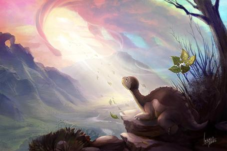 Фото Маленький динозаврик стоит на краю обрыва, на фоне природы, работа Dont Lose Your Way / не заблудиться, by AndreaTamme