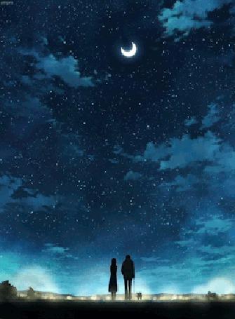 Фото Парень, девушка и собака идут под ночным небом