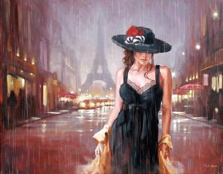 Фото Девушка в черной шляпе, в вечернем платье, тащит не полностью снятый плащ по лужам ночного Парижа в проливной дождь, художник Rob Hefferan