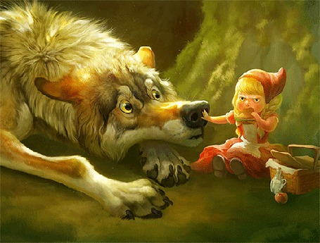 Фото Девочка в красной шапочке ест пирожок, и, нахмурив брови, толкает в нос голодного волка, по мотивам сказки Красная шапочка и серый волк художник Theresе Larsson