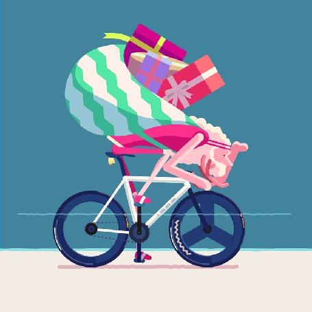 Фото Санта Клаус мчится на велосипеде с подарками на Новый год