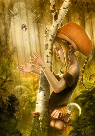Фото Девочка в необычной шапке, с кривым ножом и мешочками за поясом играет на струнах паутины на дереве. на которой сидит паук, художник David Revoy