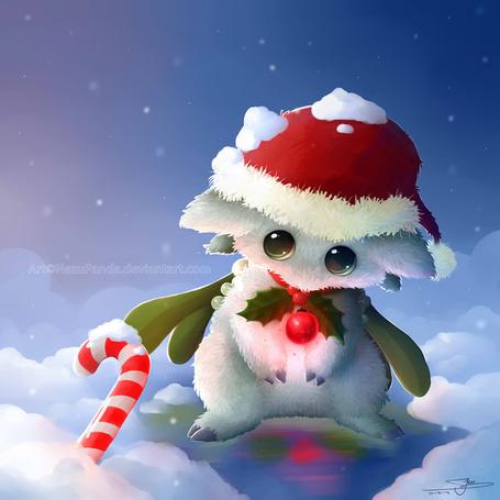 Фото Белый зверек в новогоднем колпаке, art by NezuPanda