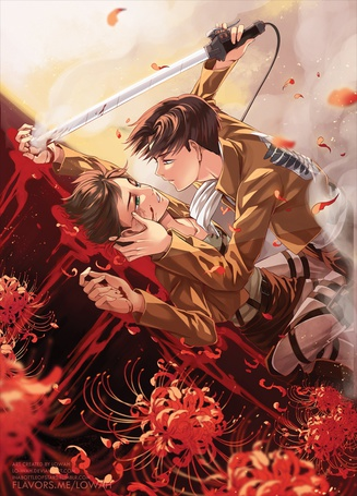 Фото Эрен Йегер / Eren Jaeger и Леви / Levi из аниме Атака Титанов / Shingeki no Kyojin