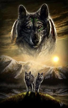 Фото Мистический образ волка на небе, перед которым стоят на холме два волка, by WolfRoad