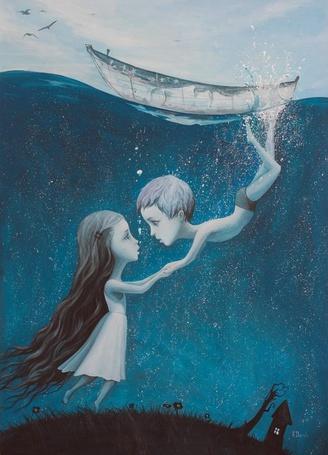 Фото Мальчик под водой тянется поцеловать девочку, которая стоит на холме около дома, by Adrian Borda