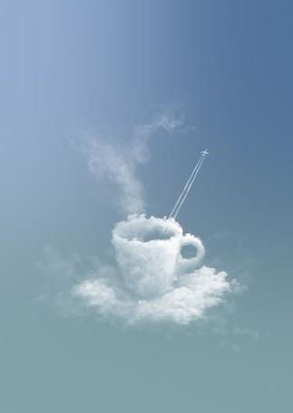 Фото Самолет, вылетающий из облачной чашки, стоящей на облачном блюдце, ретушь-студия pixteur