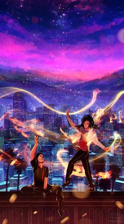 Фото Парень и девушка, окруженные волшебным сиянием, на крыше дома на фоне ночного города и звездного неба