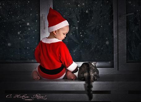 Фото Мальчик в костюмчике Деда Мороза и кот ждут у окна
