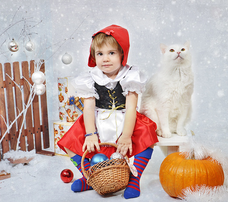 Фото Девочка в костюме Красной Шапочки и кот сидят возле забрчика и наряженного шарами дерева