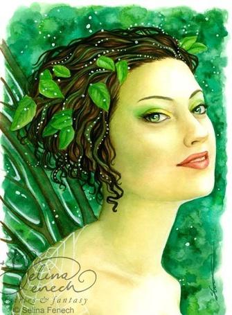 Фото Лесная фея с зелеными глазами и зелеными листьями в волосах, Jessica Galbreth, Duirwaigh Gallery, John William Waterhouse, Art
