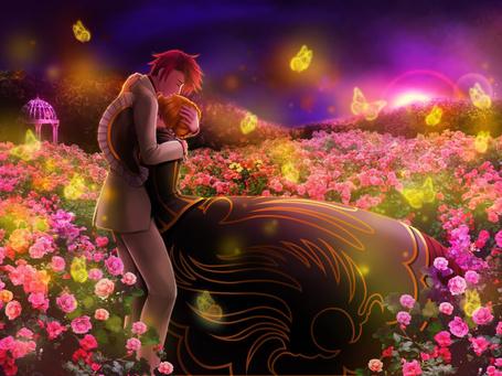 Фото Battler Ushiromiya и золотая ведьма Beatrice обнимается в саду, где много роз и бабочек из аниме Когда плачут чайки / Umineko no Naku Koro ni