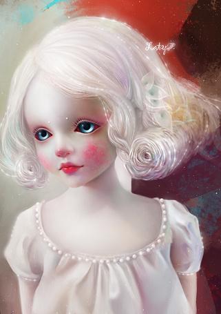 Фото Девочка с белыми волосами и голубыми глазами, Zaty