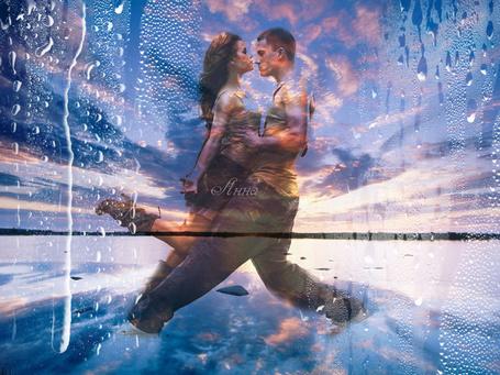 Фото Страстно танцующая пара на фоне горизонта, облачное небо и вода, эффект запотевшего стекла, автор Анна