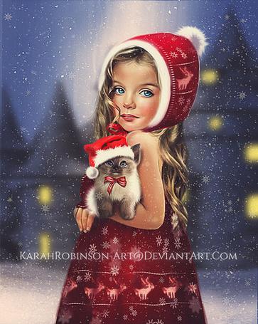 Фото Девочка с котенком на руках в ожидании Санта-Клауса / Santa Claus, by KarahRobinson-Art