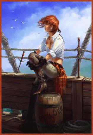 Фото Рыжая пиратка на борту корабля