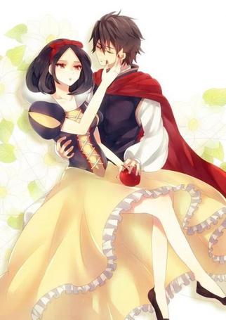 Фото Принц и Белоснежка нарисованные в стиле аниме