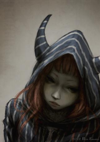 Аниме девушка в капюшоне с ушками