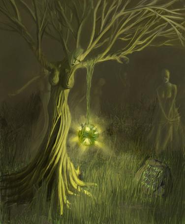 Фото Группа зеленых деревьев в виде человеческих фигур на зеленом фоне, на одном висит на ветках светящийся шар и рядом лежит могильный камень со знаками