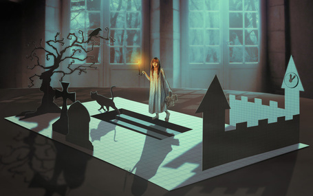 Фото Работа бумажные мечты, девочка с игрушечным медвежонком и свечой стоит перед ступеньками, по которым прошел кот, by LiliaOsipova
