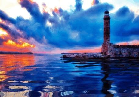 Фото Маяк на фоне неба и водной глади
