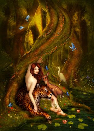 Фото Девушка сидит у воды, рядом с ней лежат леопард и олень
