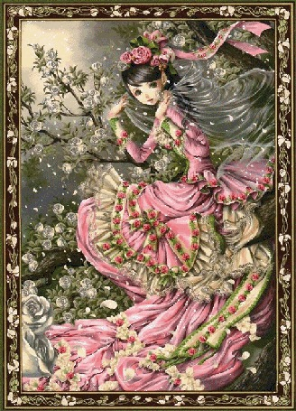 Фото Девушка фея с розами, спрятавшаяся в зарослях шиповника