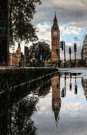 Фото Завеса дождя полностью накрыла Биг Бен / Big Ben и все достопримечательности Лондона, Англия / London, England