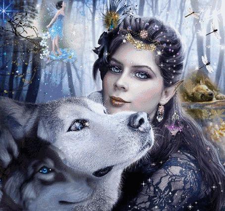 Фото Девушка-эльф и ее друзья волки