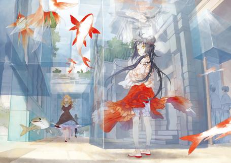 Фото Девушки на улице подводного города