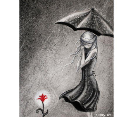 Фото Девушка с зонтом и цветок, LainyArt