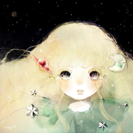 Фото Девушка с луной, звездами и планетой в волосах плачет