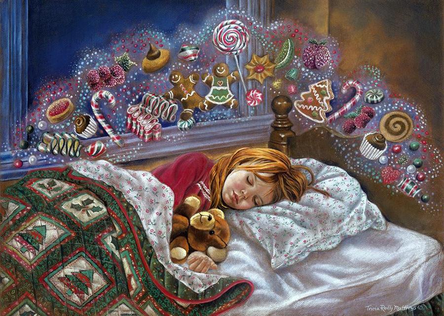 Открытка спящая девушка, цветком сердечек