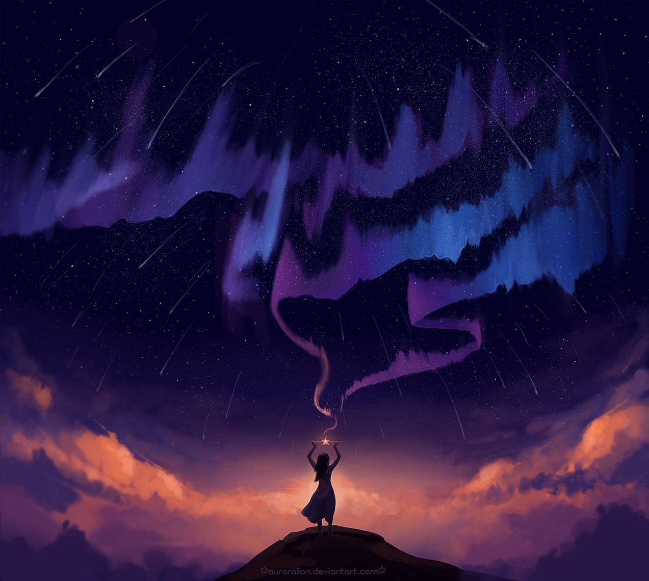 Девушка ловит звезду, стоя на вершине горы на фоне ночного неба, метеоритного дождя и северного сияния, art by auroralion