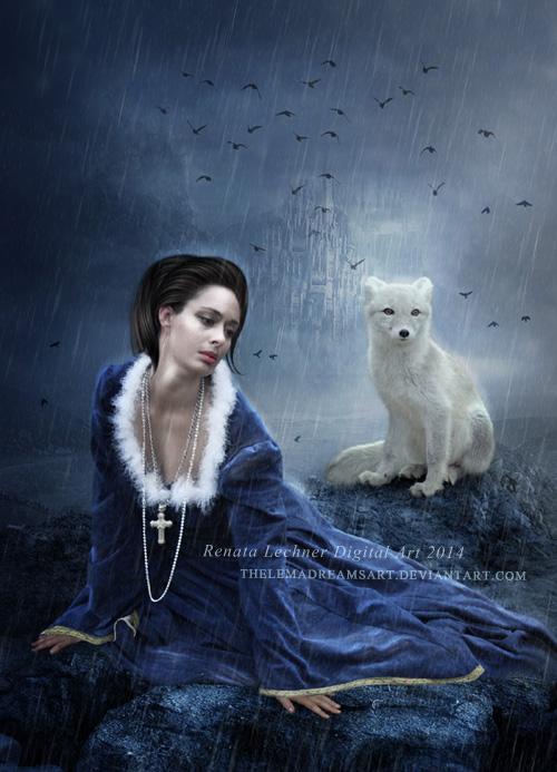 Фото Девушка и белый волк под дождем, by ThelemaDreamsArt